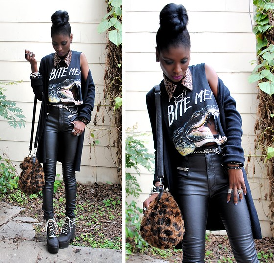VintageVirgin Jessica - Thrifted Gator Bite Me Tee, Akira Leopard Detachable Collar, Unif Nasty Gal Morrison Leatherettes, Zara Faux Fur Leopard Bag, Customized Spiked Jc Tardy Boots, Romwe Spiked Cuff/Eagle Claw Bracelet - BITE ME!