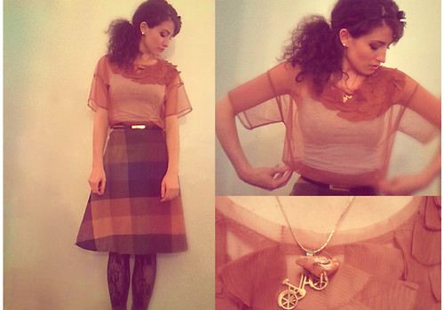 Amanda Christine W - Vintage Perfect Picnic Skirt, Forever 21 Sheer Applique Top - Eleanor in room 34