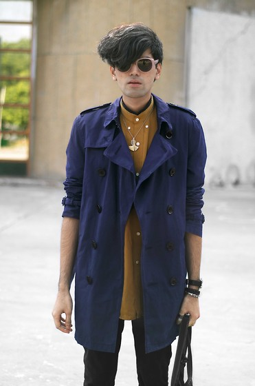 Nikhil D - Dries Van Noten Sunglasses, Burberry Trench, Dad Diy Silk Shirt, Breathing Space By Eina Ahluwalia Gingko Leaf Pendant - Nobody has to find out.