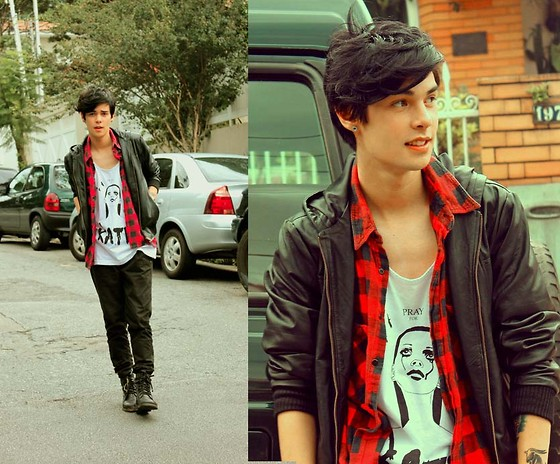 Vini Uehara - Pray For Paris T Shirt, Viparo Leather Jacket - The Earth Plates Are Shifting