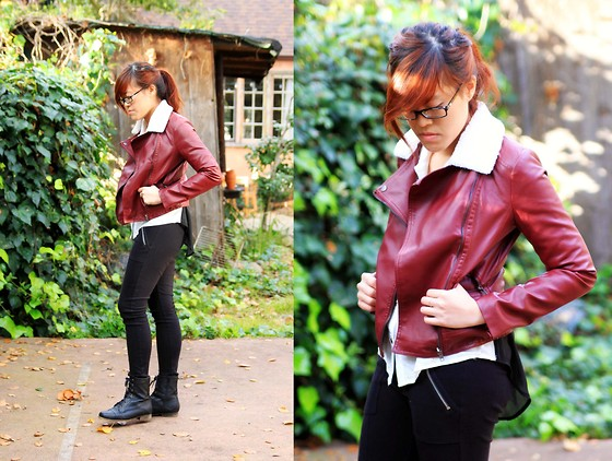 Bernadette Le - Forever 21 Pleather Jacket, Sheer Back, Collared Shirt, H&M Zippered Pants, Lace Up Boots - Red