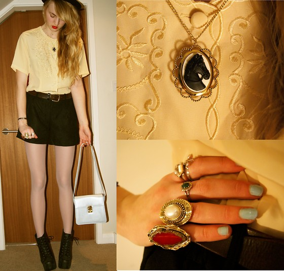 Holly U - Blouse, Vero Moda Floral Cutout Shorts, Jeffrey Campbell Jeffers, Bag, This Charming Girl Black Beauty - BLACK BEAUTY