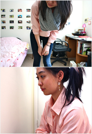 Mindy H - Peach Button Up, Skinnies, Gap Circle Scarf - ☆ i fell off my name