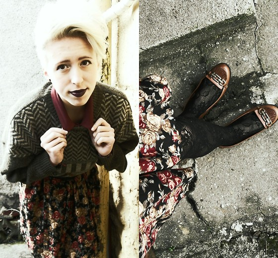 Hannah Morrissey - Primark Lacey Tights, River Island Brown Buckled Shoes, Charity Shop Evacuee Style Jumper, Topshop Burgundy Collar Shirt, Vintage Floral Skirt - Cold nose's, cold hand's what makes us understand.