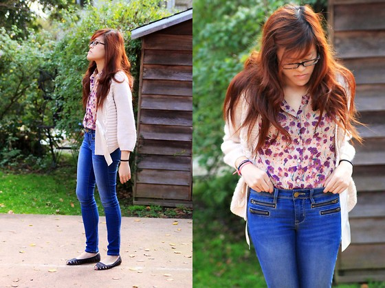 Bernadette Le - Urban Outfitters Button Up Top, Forever 21 Zippered Jeans, H&M Ribboned Cardigan, Urban Outfitters Flats - Casual