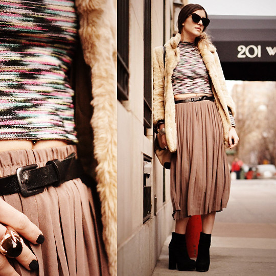 Laura Ellner - Faux Fur Jacket, Asos Cropped Top, Nasty Gal Pleated Skirt - Fresh Crop