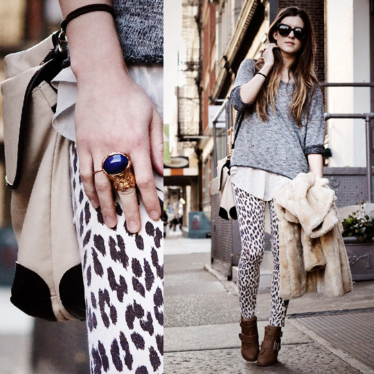 Laura Ellner - Foley + Corinna Bag, Karen Walker Sunglasses, Topshop Sweater, Leopard Pants, Juicy Couture Faux Fur Jacket, Yves Saint Laurent Ring, Shoes - Leopard Spots