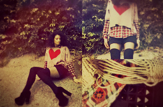 Amanda Christine W - Farenheit Sky High Booties, Miracle City Ripped Heart Sweater, Urban Outfitters Thigh Highs, Charlotte Russe Studded Black Denim Shorts, Vintage Plaid Button Up - Uh oh. I've got a heart on.