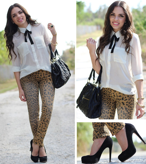 Daniela Ramirez - Steve Madden Shoes, Target Jeans, Mimi Boutique Bag, Forever 21 Top - A classic take on leopard jeans!