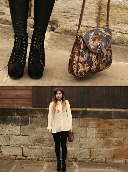 Monica Barleycorn - Topshop Leather Trousers, Vintage Blouse, Jeffrey Campbell Litas, Vintage Bag - Classic essence