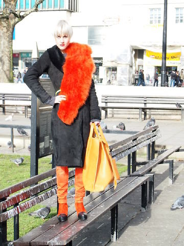 Linda Tol - Zara Scarf, Emu Australia Coat - Orange Power
