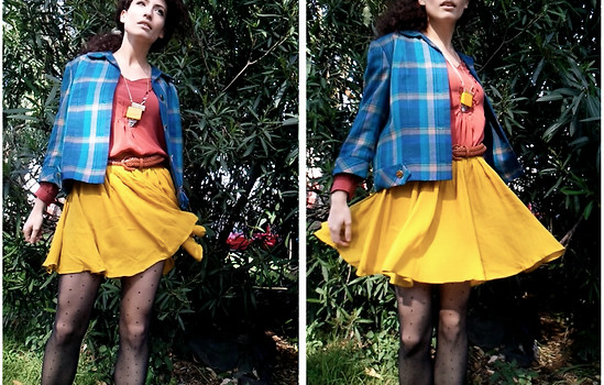 Amanda Christine W - 60's Vintage Plaid Jacket, Kimchi Blue Yellow Flowy Mini, Anthropologie Chunky Art Deco Necklace, Anthropologie Silk Blouse - Don't eat the apples, my dear