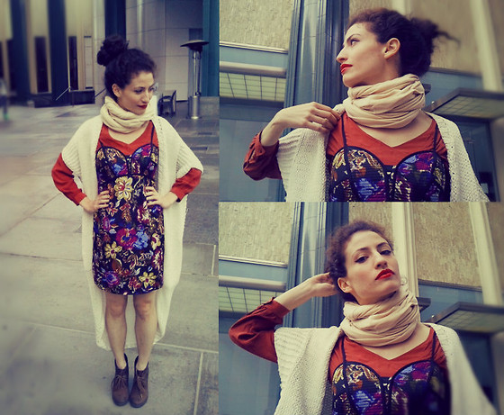 Amanda Christine W - Anthropologie Silk Blouse, Twinkle By Wenlan Cocoon Sweater, American Apparel Circle Scarf, Target Flower Bustier Dress - Ceci n'est pas une pipe