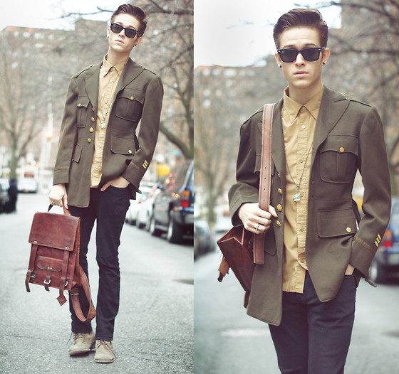 Adam Gallagher - Vintage Store Military Coat, Topman Gold Shirt, Leather Bookbag - Vintage & honor