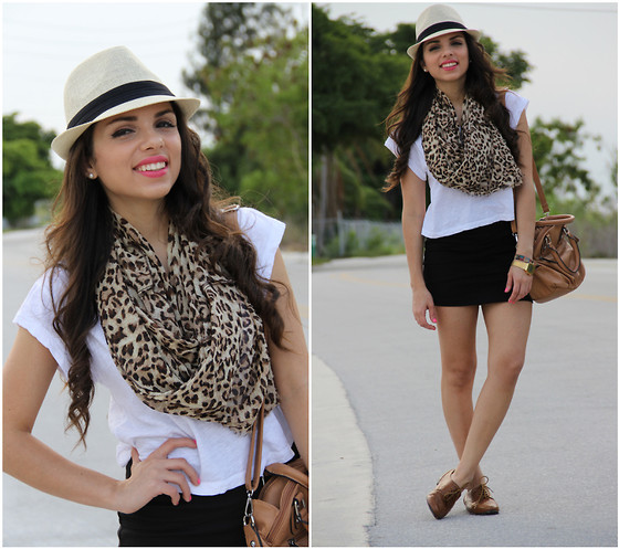 Daniela Ramirez - Agaci Fedora, Forever 21 Skirt As Scarf, Mimi Boutique Bag, Nine West Shoes, Vintage Casio Watch - How the leopard got its spots!