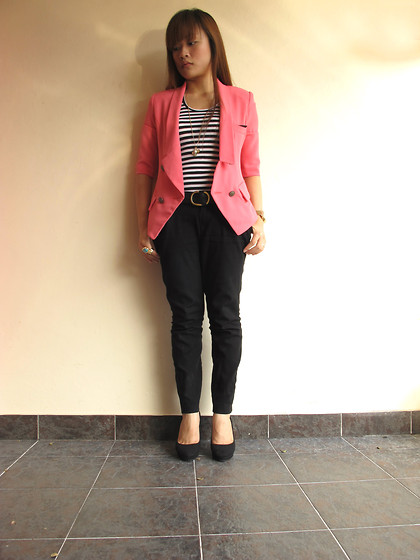 Ashley Liew - Pink Blazer, Black & White Striped Top, Black Pants, Black Felt Pumps - My pink blazer