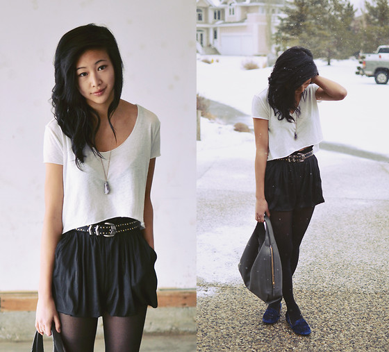 Alyssa Lau - Romwe High Waisted Shorts, Urban Outfitters Velvet Loafers, Urban Outfitters White Crop Top - A horse is not a home