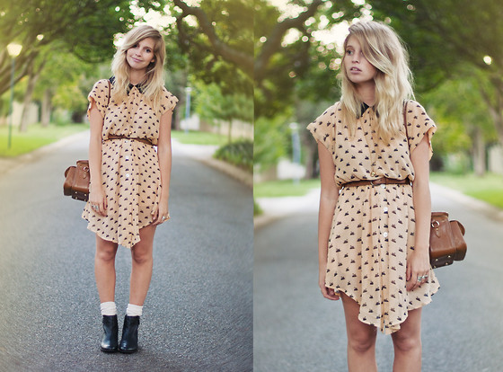 Amy S - Dahlia Becca Swan Print Dress, Matisse Leather Booties - Put me in a movie