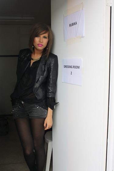 Irena D - Bought In Spain Sequin Jacket, River Island Shorts - Dressing Room