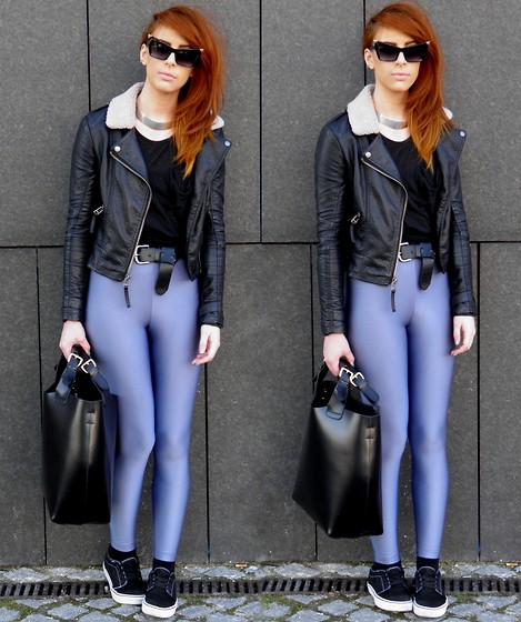 Heather C - Primark T Shirt, Topshop Leather Jacket, Zara Leather Tote Bag, Lookbook Store Leggings, N/A Cat Eye Sunglasses, H&M Silver Neck Cuff, Vans Authentics - Disco