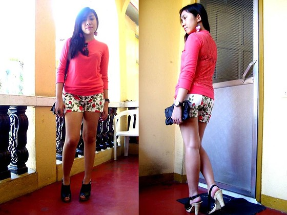Shayne B - Forever 21 Lace Blouse, Just Chic Floral Shorts, Mse Clogs - Lacey Friday