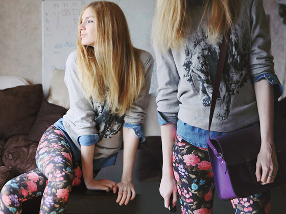 Zuzi * - Bear Top, Denim Shirt, Floral Leggings, Cambridge Satchel - Floral leggings