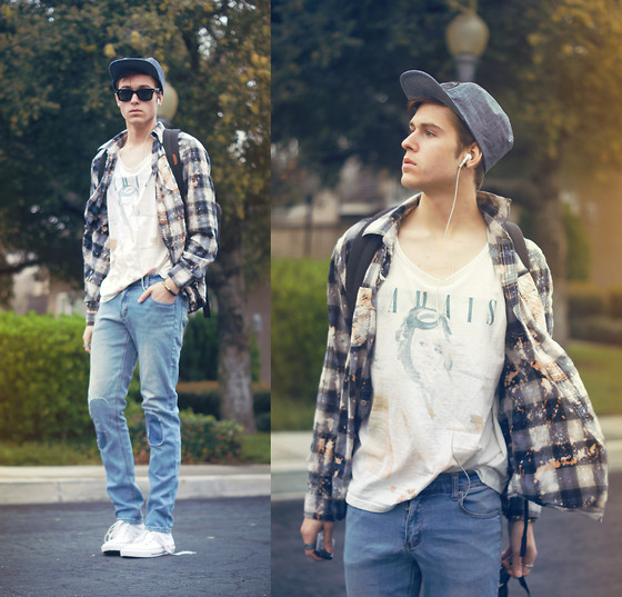 Adam Gallagher - Shirt, Cotton On Tank, Urban O Brixton Hat, Cheap Monday Patch Pants - Retro & patches
