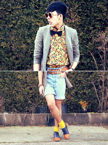 Joseff Lopez (Seffinisto) - Jones New York Plaid Lapel Coat, Vintage Floral Fauna Printed Shirt, Primadonna (Ph) Two Toned Color Oxford Shoes - I'll Give You a Daisy a Day