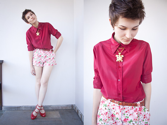 Barbara Zanella - Emme Floral Shorts, Melissa Red Shoes - New Haircut