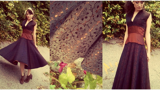 Amanda Christine W - Flounce Vintage Lace Dress, Booties, Vintage Head Scarf - Your love is better than chocolate.