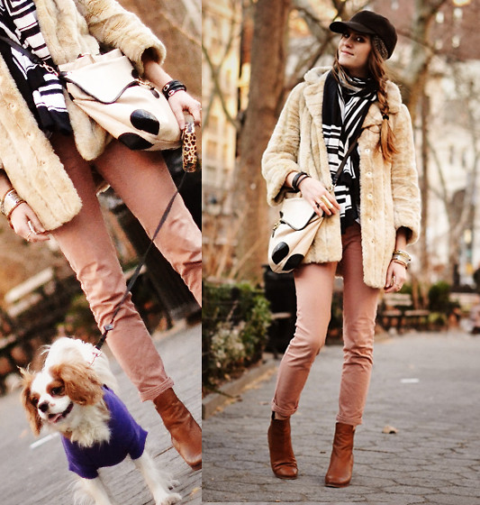 Laura Ellner - Faux Fur Jacket, Foley + Corinna Bag, Zara Pants, Shoes - Elizabeth Taylor