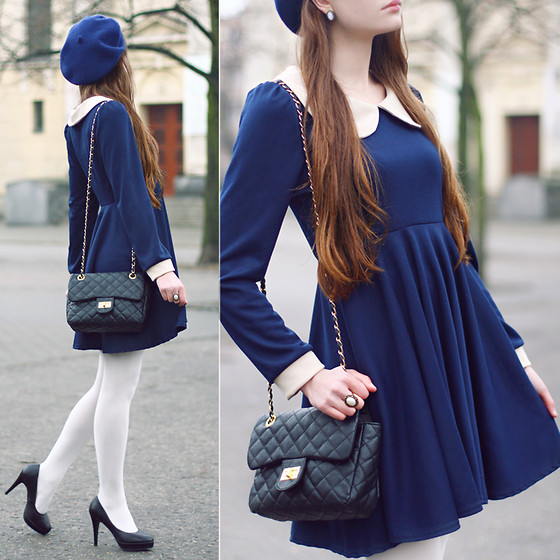 Ariadna Majewska - Vintage Ring, White Oval Earrings, Navy Blue Dress With Peter Pan Collar, Jędrzejko Navy Blue Beret, White Tights, Embis Black Heels, Black Bag - Peter Pan collar dress