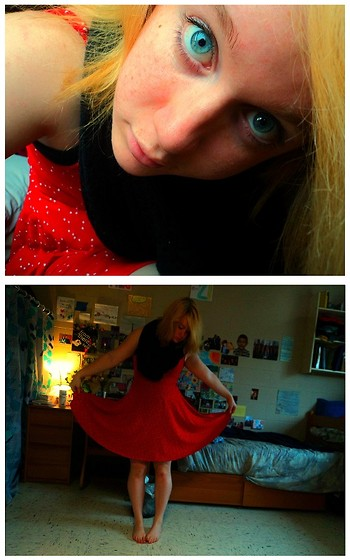 E.B. Berger - Forever 21 Infinity Scarf, Urban Outfitters Red Dress - I'm trying to keep from going under.