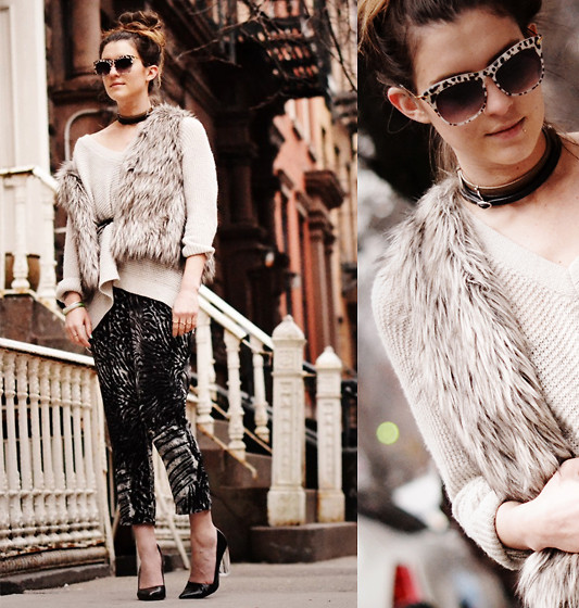 Laura Ellner - Elizabeth & James Sunglasses, Free People Sweater, H&M Jumpsuit, Zara Heels - Layer Cake