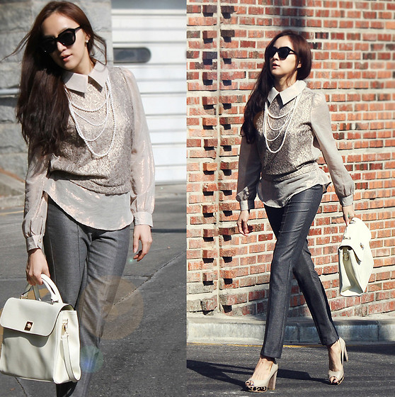 Becky Baek - Lace Glitter Blouse, Gray Slim Pants, Square Minimal Tote Bag, Leapard Open Toe Pumps - Lace glitter