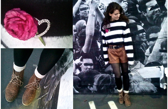 "Amanda Christine W - Gap Striped Sweater, Forever 21 ""Leather"" Shorts, Leopard Print Lace Up Boots, Vintage Heart Brooch, Cookbook Fresh Pink Ranuncula - Black and white and IT'S MY BIRTHDAY all over!"