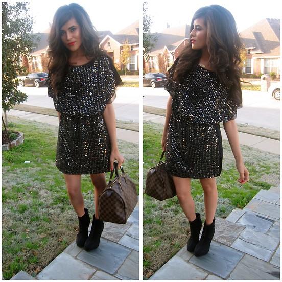 sequin dress with booties