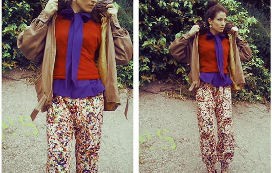 Amanda Christine W - Taxi Cdc Tie Collar Blouse, American Apparel Sheer Jersey Tee, Vintage Leather Bomber, Hare Confettie Harem Pants - Confetti weekend