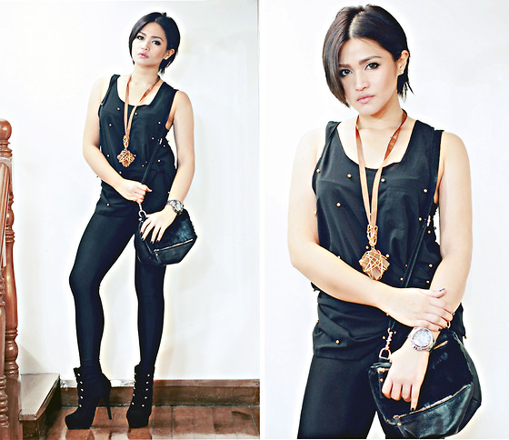 Raleene Cabrera - Armani Exchange Watch, Mia Arcenas Studded Top, American Apparel Leggings, From Hong Kong Bag, Mia Arcenas Necklace, Forever 21 Boots - 030312