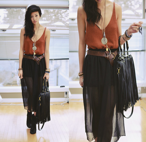 Alyssa Lau - Sheinside Black Chiffon Translucent Skirt, Romwe Fringe Bag - Sarcastic mister know it all