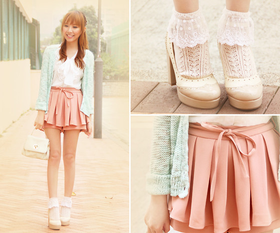 Dotthy Wong - Dazzlin Top, Dazzlin Shorts, Japan Cardigan, Ingni Shoes, Tutuanna Socks - Strawberry Mint Lemonade ♥