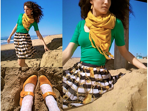 Amanda Christine W - Vintage Nautical Pleated Skirt, Forever 21 Cotton Spandex Dress, Yellow Mary Janes, Anthropologie Yellow Gem Earrings - Smile like a saint, curse like a sailor.