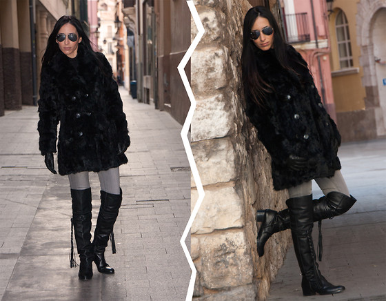 WOWS . - Ray Ban Sunglasses, Blanco Coat, Mango Jeans, Zara Boots, Mango Gloves - OVER THE KNEE BOOTS