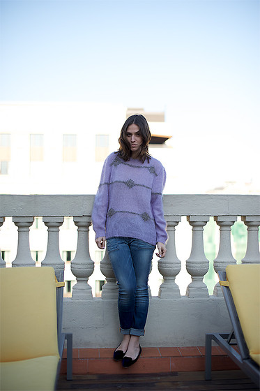 Erika Boldrin - Orange Boss Boyfriend Jeans, Mom Cloth Lilac Sweater, Zara Velvet Flats - Lilac