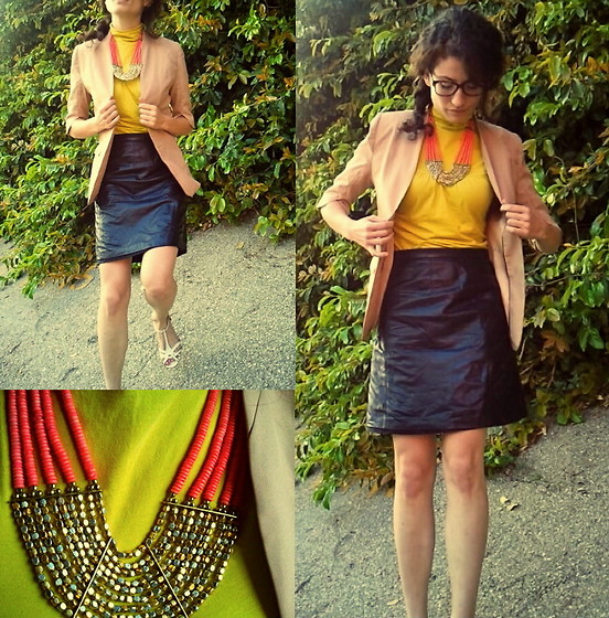 Amanda Christine W - Ovi Nude Blazer, Thrifted Leather Skirt, Anthropologie Neon Jersey Turtleneck, Alex Marie Strappy Wedges, Chanel Tortoise Shell Glasses - Nude and neon