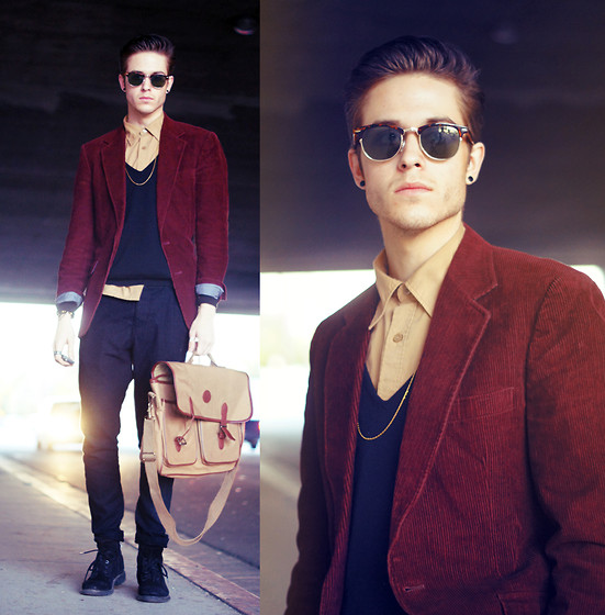 Adam Gallagher - Blazer, Gold Shirt, Bag - Vivid & flare
