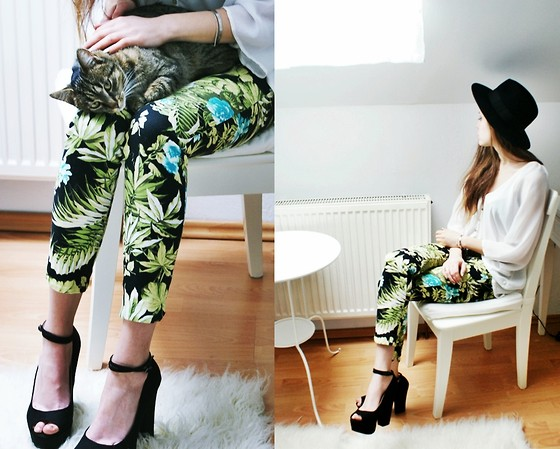 Kasia Szymków - Zara Floral Pants, Zara Platforms, Secondhand Shirt, Hat - JUNGLE!