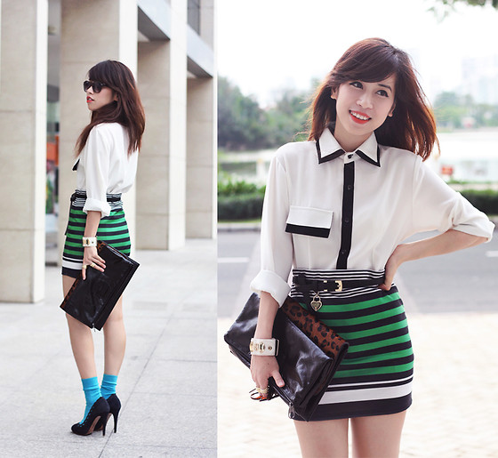 Linda Tran N - Shirt, Stradivarius Striped Skirt, Zara Heels - Sky's the Limit