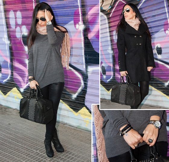 WOWS . - Mango Bag, Leontina Alascio Bracelets, Macmon Bracelet, Luxenter Ring, Ray Ban Sunglasses, Zara Sweater, Zara Leggins, Zara Coat, Mango Scarf, Michael Kors Watch, Zara Booties - MILITARY COAT and STUDS