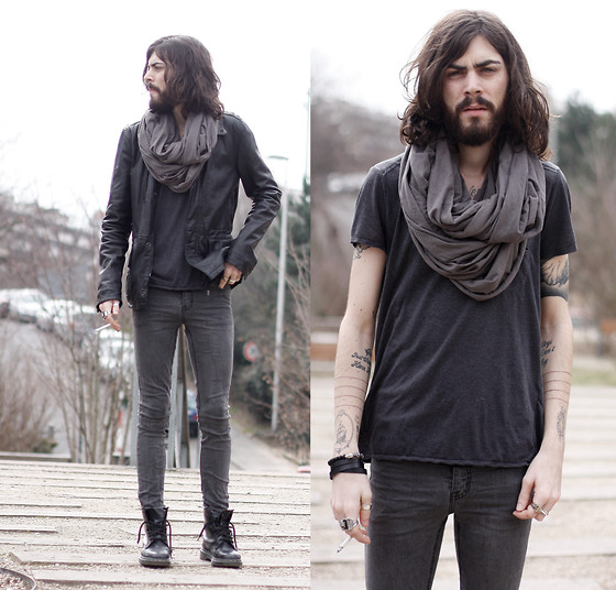 Tony Stone - American Apparel Circle Scarf, Zara Leather Jacket, Cheap Monday Grey Denim, Dr. Martens Black Boots - Ashes and Smoke.